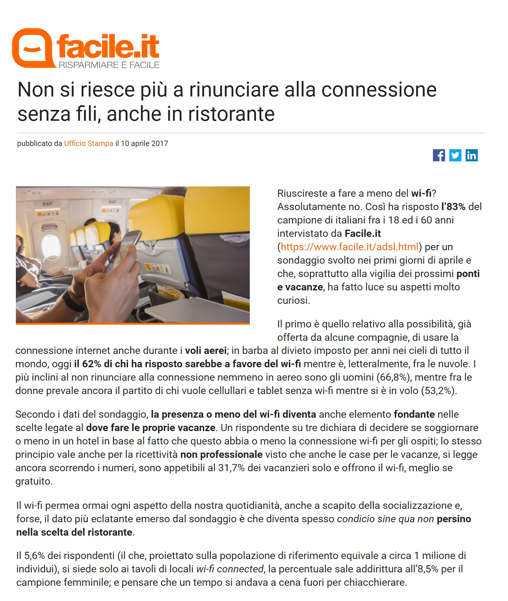Sondaggio Facile.it